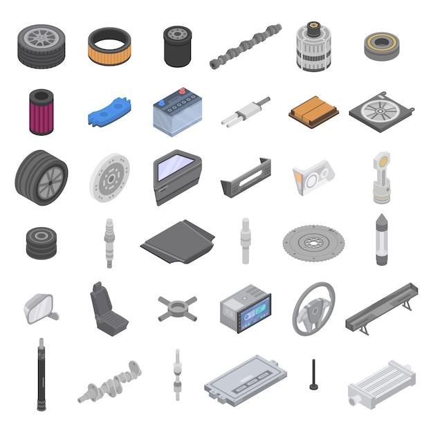 Set di icone di parti di auto, stile isometrico Vettore Premium