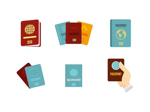 Set di icone di passaporto. insieme piano della raccolta delle icone di vettore del passaporto isolato Vettore Premium