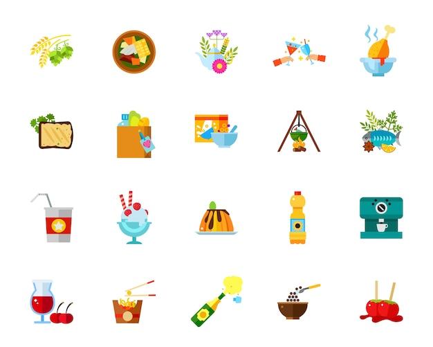 Set di icone di pasti Vettore gratuito