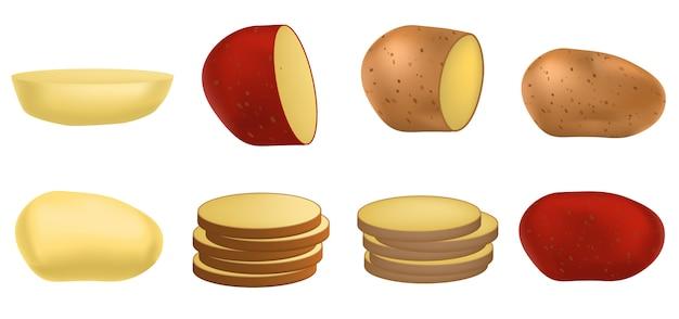 Set di icone di patate, stile realistico Vettore Premium
