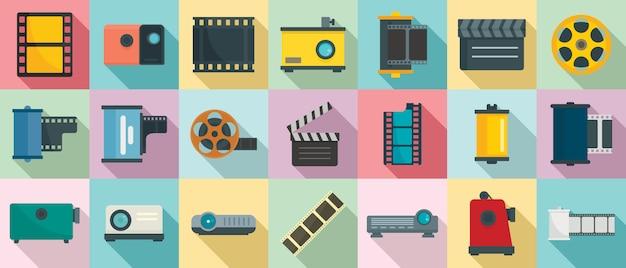Set di icone di pellicola, stile piano Vettore Premium
