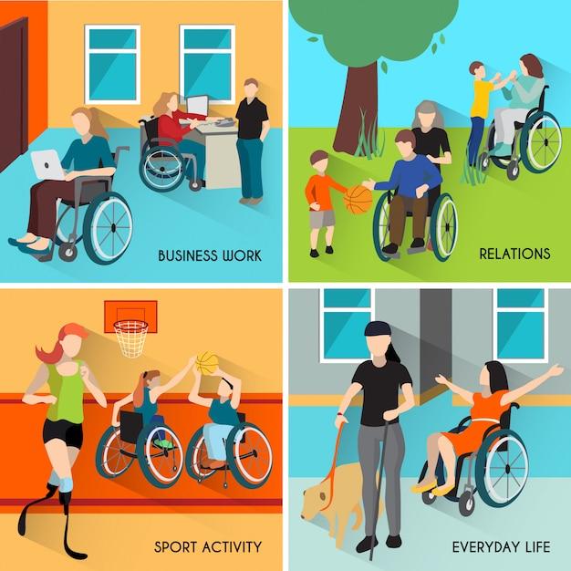 Set di icone di persone disabili Vettore gratuito