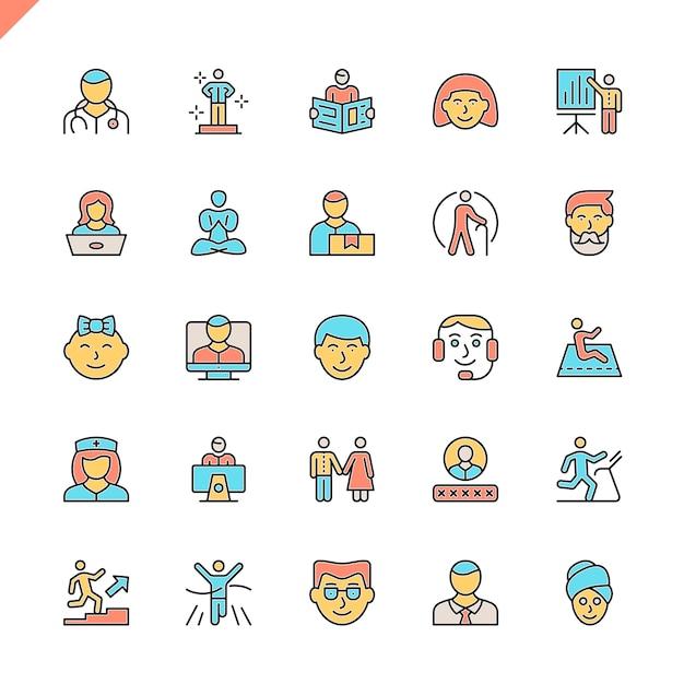 Set di icone di persone linea piatta Vettore Premium