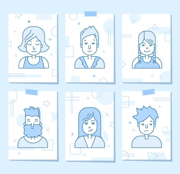 Set di icone di persone piatte lineari. avatar social media, userpic e profili. Vettore gratuito