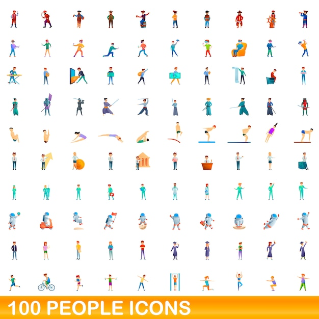 Set di icone di persone, stile cartoon Vettore Premium