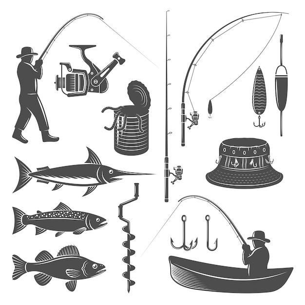 Set di icone di pesca Vettore gratuito