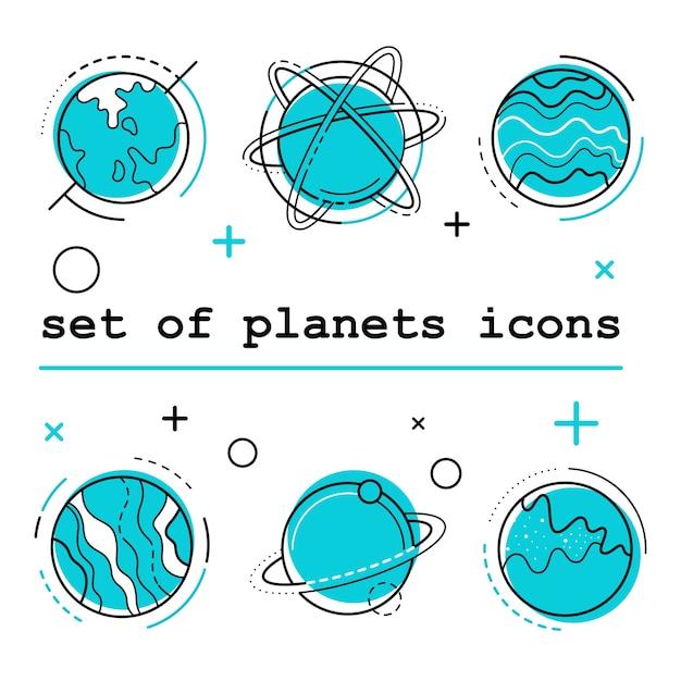 Set di icone di pianeti. illustrazione vettoriale bianco bg Vettore Premium