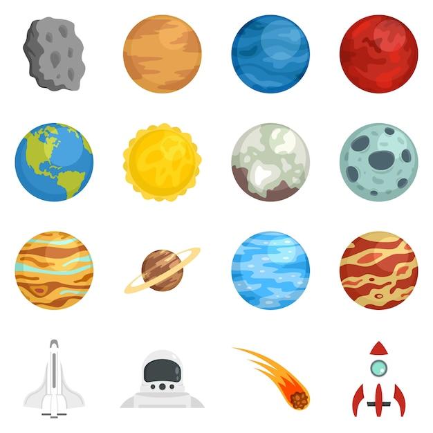 Set di icone di pianeti Vettore Premium