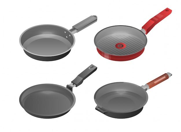 Set di icone di piastra di cottura. insieme isometrico delle icone di vettore della vaschetta della piastra per web design isolato su fondo bianco Vettore Premium