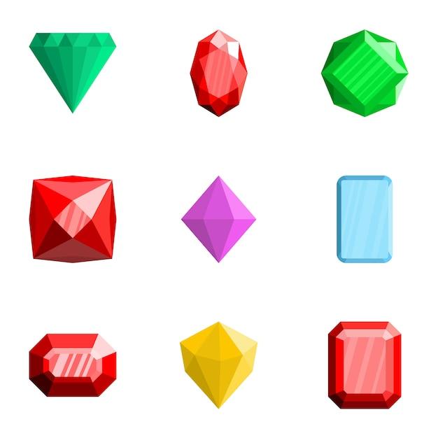 Set di icone di pietre preziose, stile piano Vettore Premium