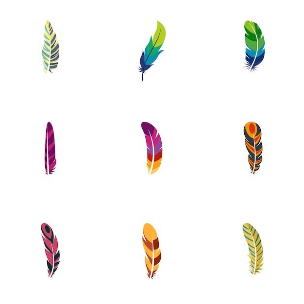 Set di icone di piuma di pavone. set piatto di 9 icone di piume di pavone Vettore Premium