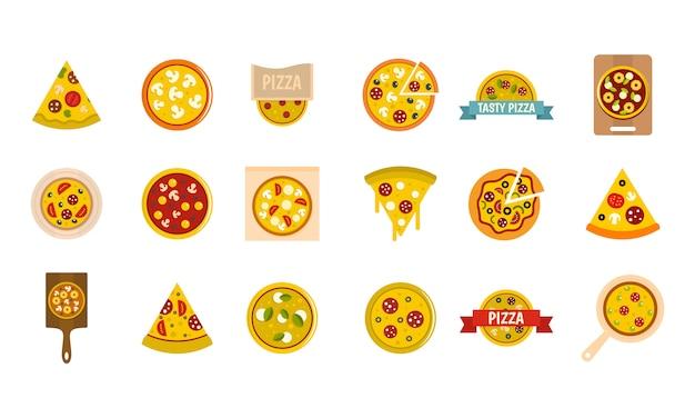 Set di icone di pizza. insieme piano della raccolta delle icone di vettore della pizza isolato Vettore Premium