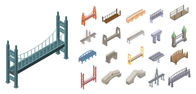 Set di icone di ponti, stile isometrico Vettore Premium
