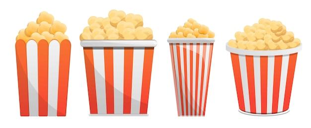 Set di icone di popcorn, in stile cartone animato Vettore Premium