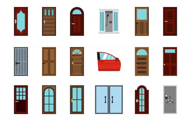 Set di icone di porta. insieme piano della raccolta delle icone di vettore della porta isolata Vettore Premium