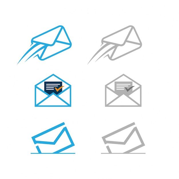 Set di icone di posta consegnato Vettore Premium