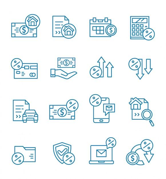 Set di icone di prestito con stile di contorno. Vettore Premium