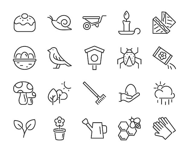 Set di icone di primavera, raccolto, fattoria, pasqua, fiore, pioggia, giardino Vettore Premium