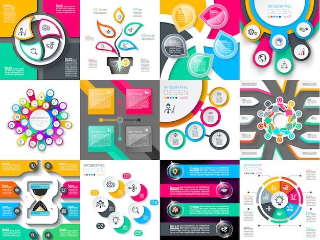 Set di icone di progettazione infografica utilizzate per il layout del flusso di lavoro. Vettore Premium