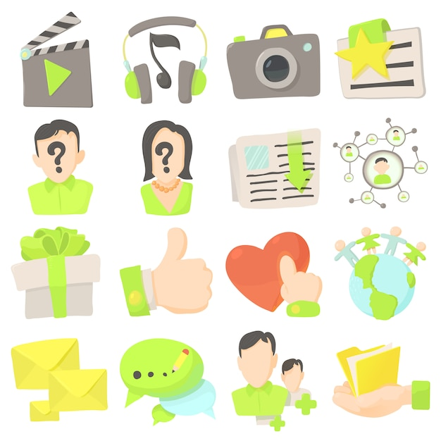 Set di icone di pubblicità Vettore Premium