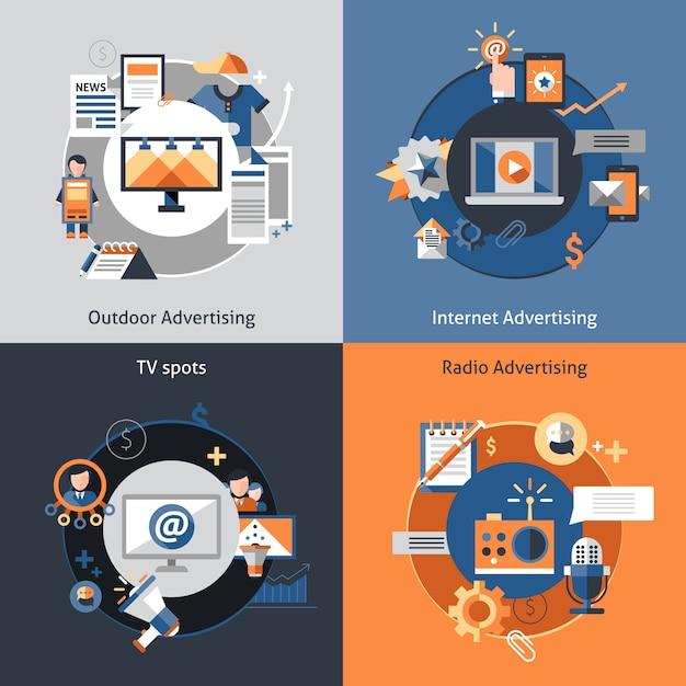 Set di icone di pubblicità Vettore gratuito