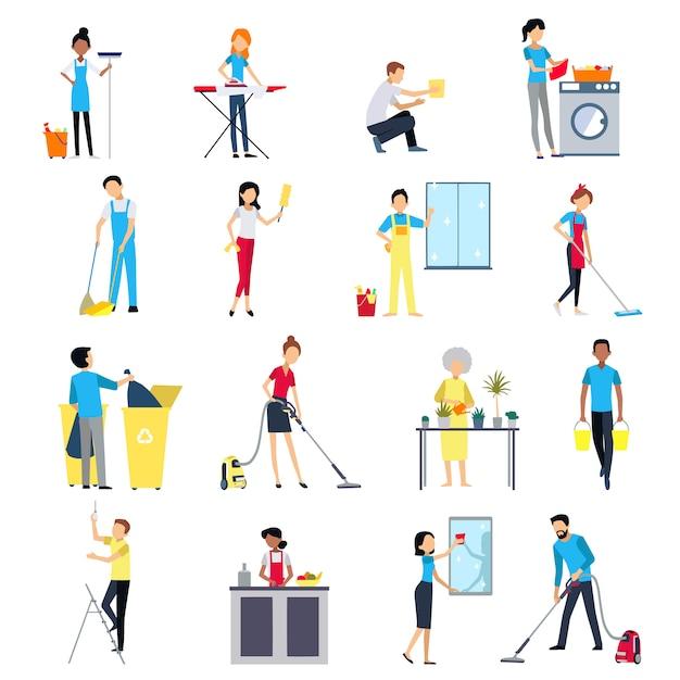 Set di icone di pulizia della gente Vettore gratuito