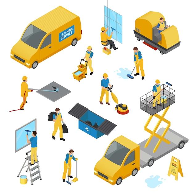 Set di icone di pulizia industriale isometrica Vettore gratuito