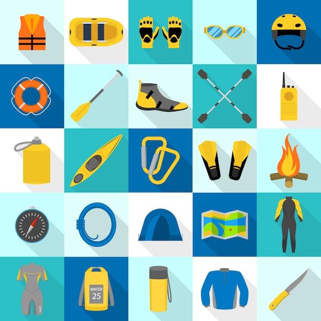 Set di icone di rafting kayak, stile piano Vettore Premium