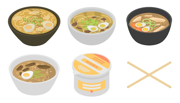 Set di icone di ramen, stile isometrico Vettore Premium
