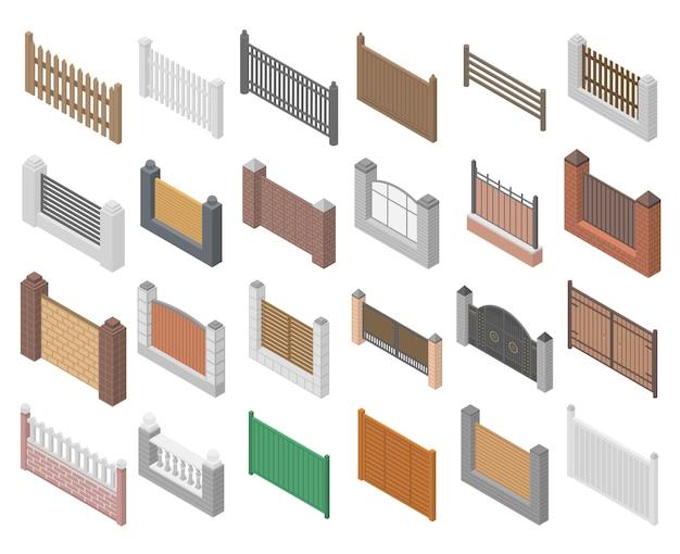 Set di icone di recinzione, stile isometrico Vettore Premium