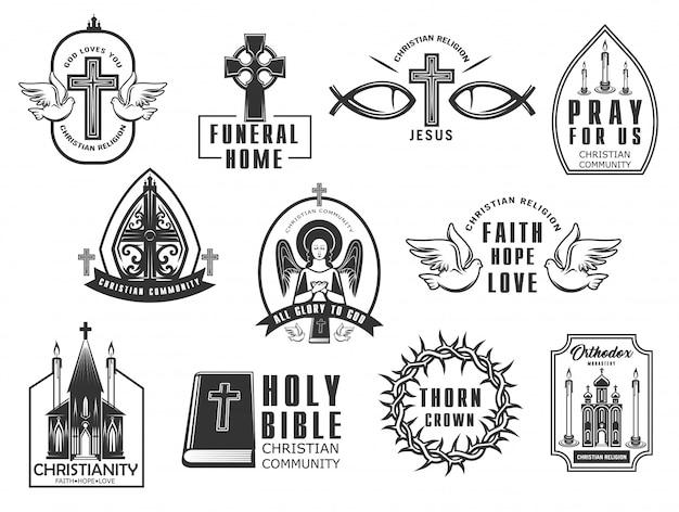 Set di icone di religione cristiana. Vettore Premium