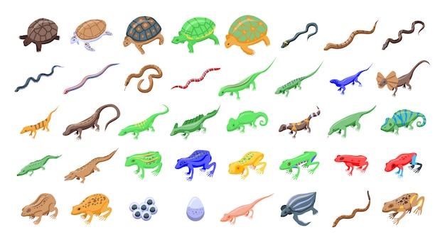 Set di icone di rettili e anfibi, stile isometrico Vettore Premium