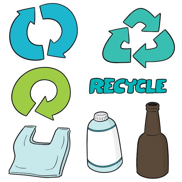 Set di icone di riciclo Vettore Premium
