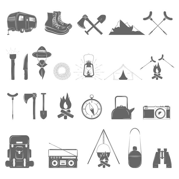 Set di icone di ricreazione all'aria aperta Vettore Premium