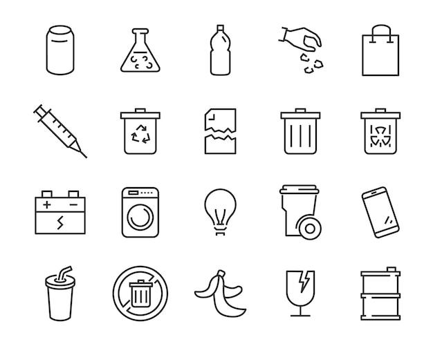 Set di icone di rifiuti, come spazzatura, inquinamento, sporco, spazzatura, industria Vettore Premium