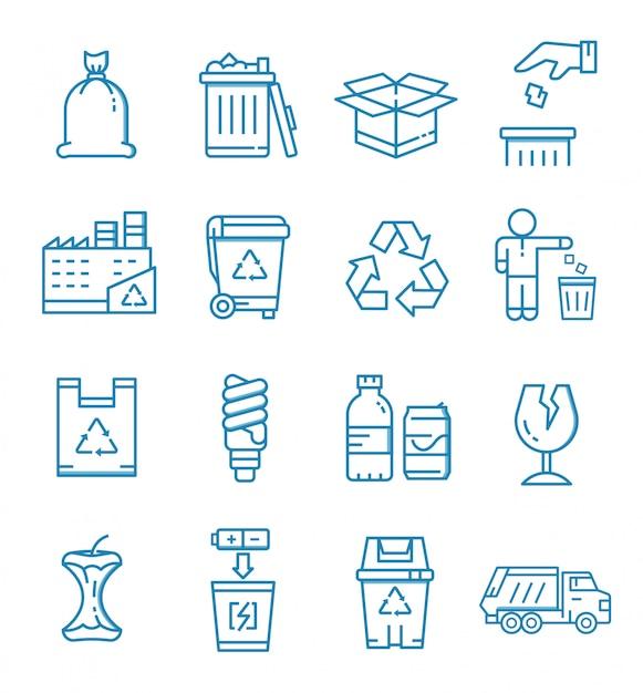 Set di icone di rifiuti con struttura di stile Vettore Premium