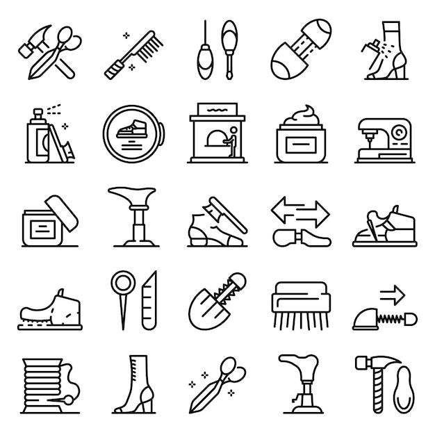 Set di icone di riparazione di scarpe, struttura di stile Vettore Premium