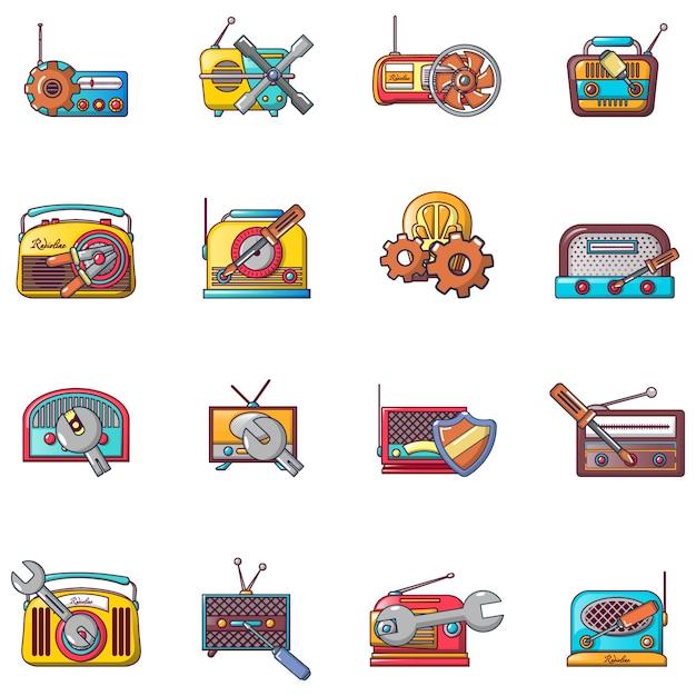 Set di icone di riparazione radio, stile cartoon Vettore Premium