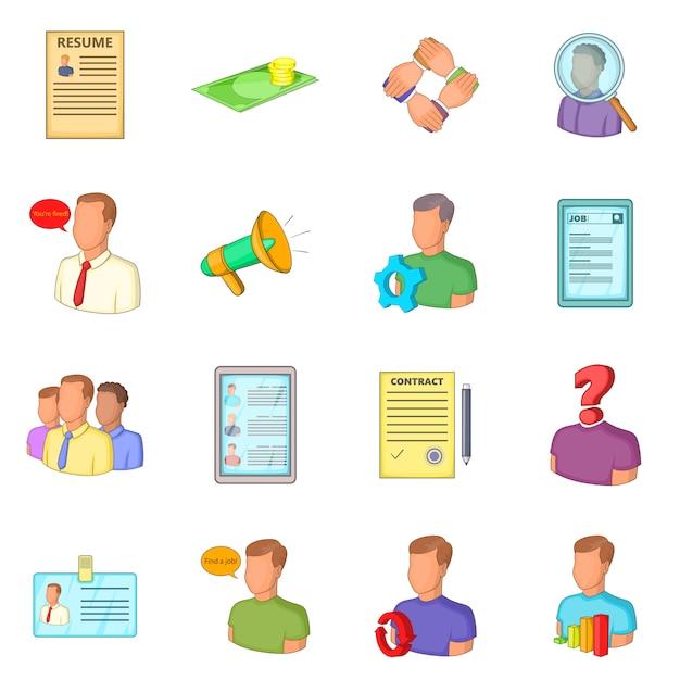 Set di icone di risorse umane Vettore Premium