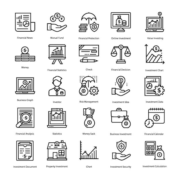 Set di icone di risparmio e investimento Vettore Premium