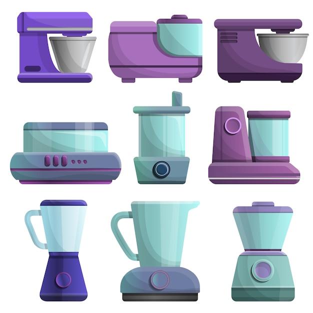 Set di icone di robot da cucina, stile cartoon Vettore Premium