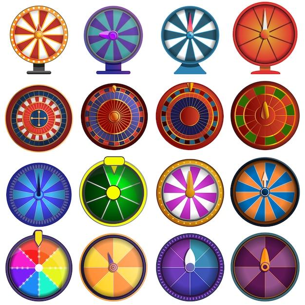 Set di icone di roulette, in stile cartone animato Vettore Premium