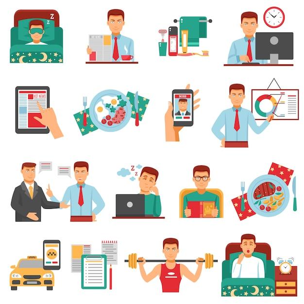 Set di icone di routine quotidiana dell'uomo Vettore gratuito