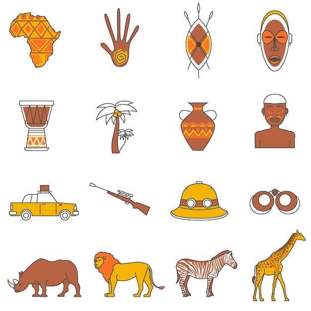 Set di icone di safari Vettore gratuito