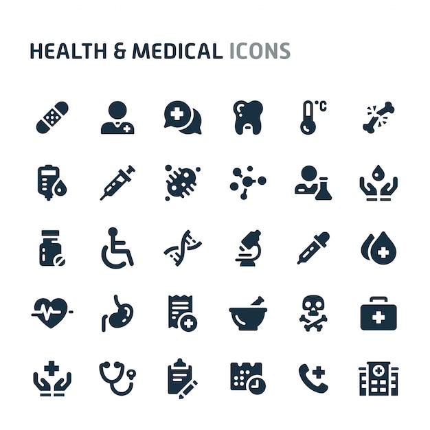 Set di icone di salute e medicina. fillio black icon series. Vettore Premium