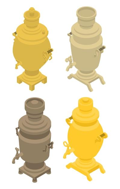 Set di icone di samovar, stile isometrico Vettore Premium
