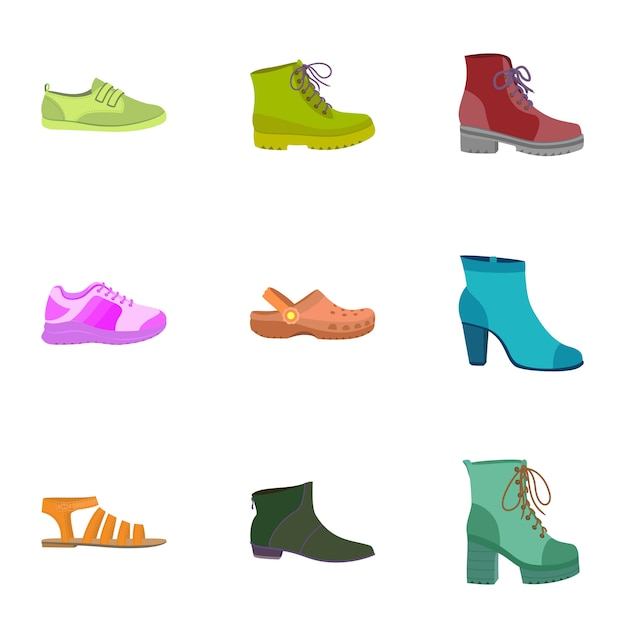 Set di icone di scarpe femminili. set piatto di 9 icone di scarpe femminili Vettore Premium