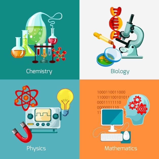 Set di icone di scienza Vettore gratuito