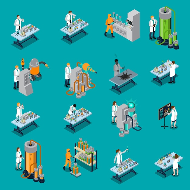 Set di icone di scienziato Vettore gratuito