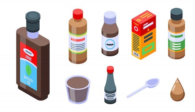 Set di icone di sciroppo per la tosse, stile isometrico Vettore Premium